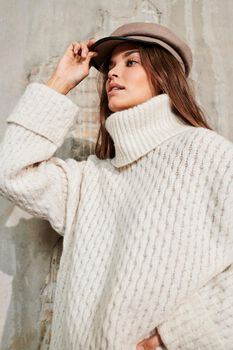 Gertrude turtleneck long cable knit sweater