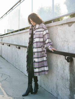 Gemma check long wool-blend shacket
