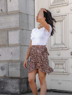 Fuchsia floral wrap skirt