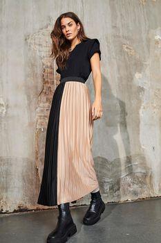Sina high elastic waist plissé skirt
