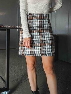 Kenso high waist mini plaid skirt