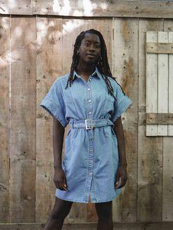 Erin denim belted shirt dress