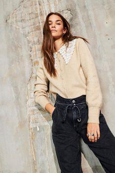 Lila lace collar knit cardigan