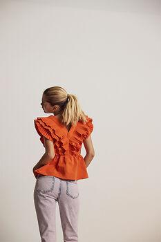 Carmella v-neck ruffle peplum blouse
