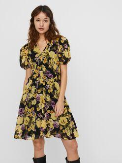 Otilia v-neck puff sleeves dress