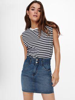 Jen shoulder pads striped t-shirt