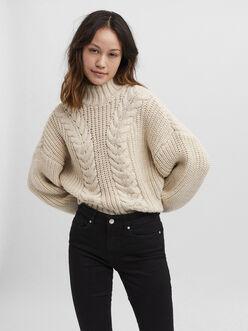 Miranda high neck cable knit sweater