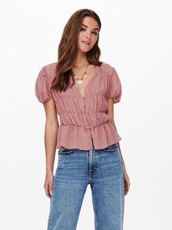 Felisa v-neck puff sleeves smocked blouse