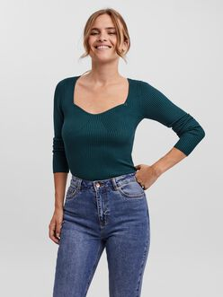 Willow sweetheart neck rib-knit sweater