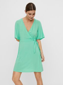 Ibina butterfly sleeves mini wrap dress