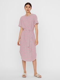 Alona stripe belt waist midi dress