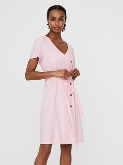 Astimilo asymmetrical button and belt dress