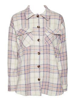 Shay oversized plaid blouse