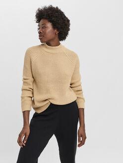Lea high neck knit-rib sweater