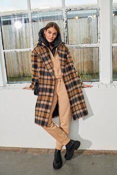 Sofia wool-blend checked coat