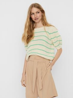 Iddle short sleeves striped knit sweater
