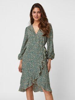 Rillo flounced wrap midi dress