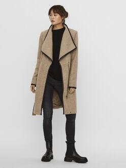 Waterfall wool-blend wrap coat