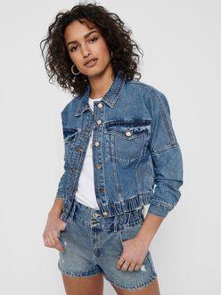 Rave elastic hem cropped denim jacket